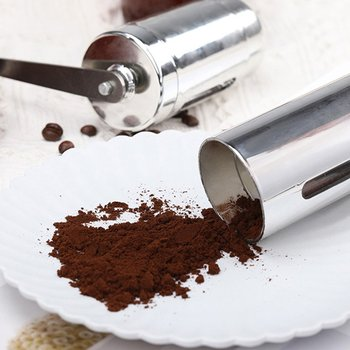 Młynek do kawy ręczny młynek do kawy Mini ręczny młynek do kawy młyn przenośny dom kuchnia podróż ręczny młynek do kawy tanie i dobre opinie ICOCO Szlifierek zadziorów (stożkowe) Porcelain Elektryczne purple silver black pink(optional) stainless steel 175x55x140mm