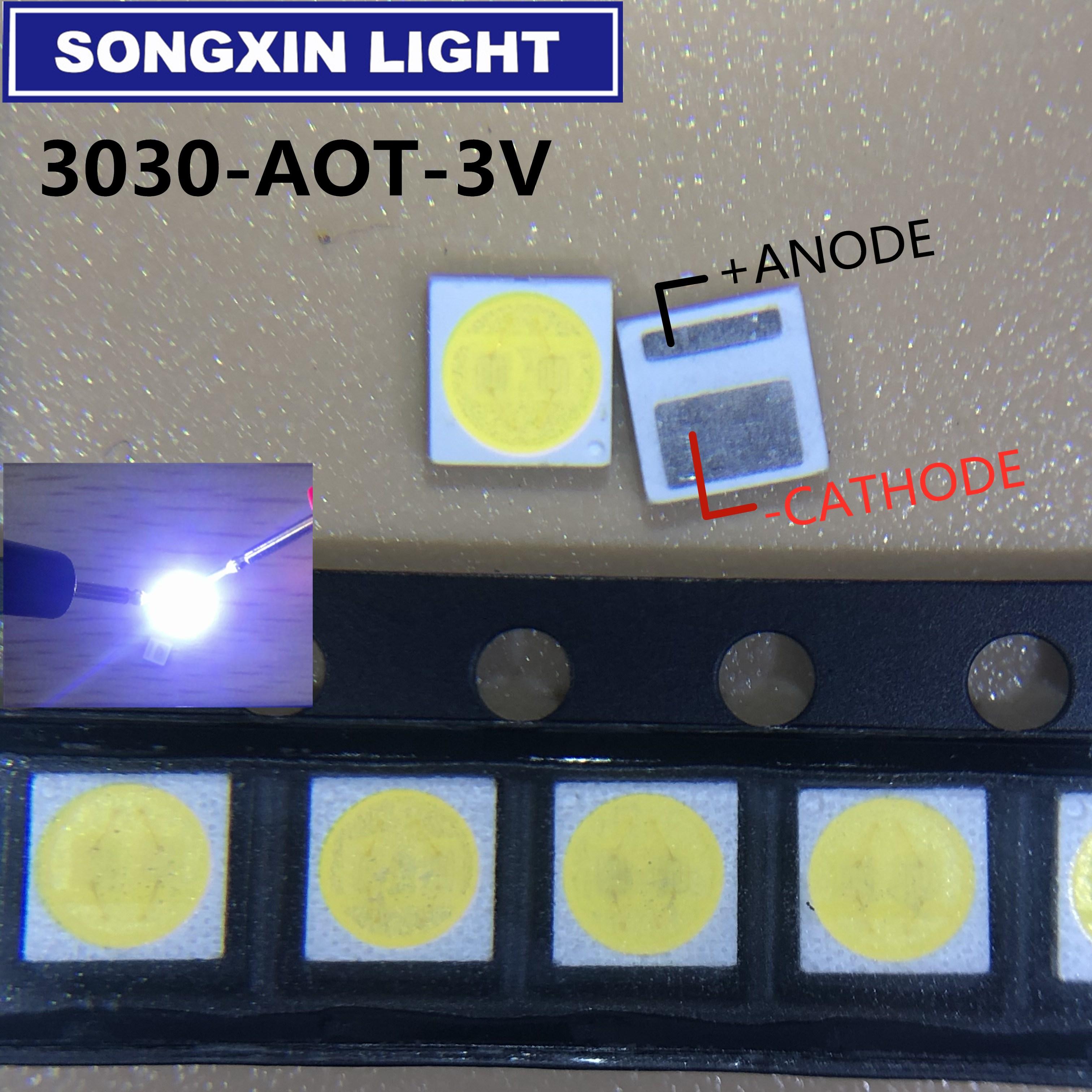 Мощный светодиодный ЖК-экран AOT, 200 шт., 1,5 Вт, 3 в, 3030 лм, холодный белый цвет, подсветка для ТВ, EMC 3030C-W3C3 aot