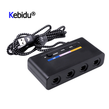 KEBIDU USB Adapter Converter 4 Ports For Wii-U PC Switch Converter For PC Game Accessory For GameCube Controllers