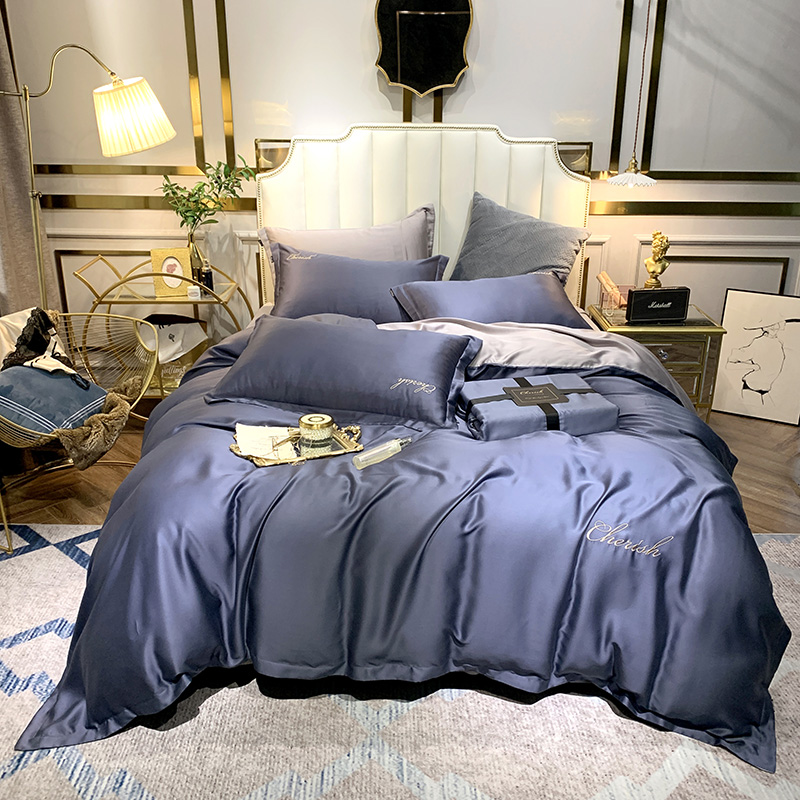 Word Embroidery Super Soft Tencel Bedding Sets Queen King Size Duvet Cover Bed Sheet/linen Set Pillowcases