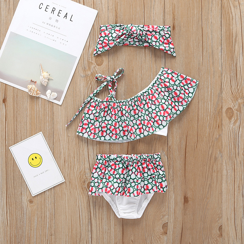 New Style Summer Medium-small Girls Swimwear Little Girl Floral-Print Bathing Suit Two-Piece Set Hot Selling