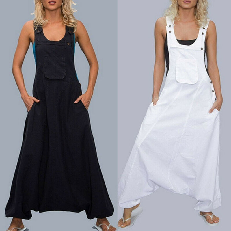 Plus Size Women Dungarees Harem Strap Pant Loose Jumpsuit Baggy Trouser Overalls Over 100 Sales