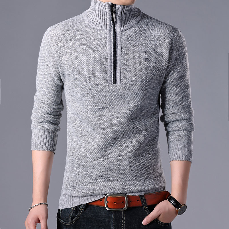 2019 Brand Clothing Fashion Men's Winter To Keep Warm High Collar Knitting Sweater/Male Slim Fit Set Head Leisure Sweater Coat