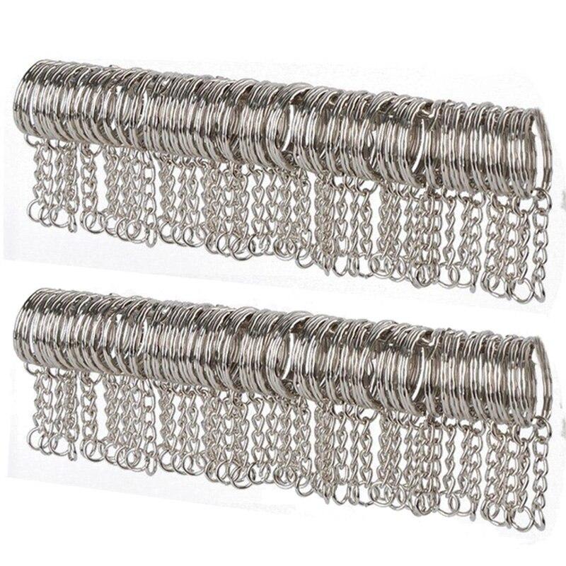 10/50pcs Metal Silver Blank Keyring Keychain Split Ring Keyfob Key Holder Pendant Rings Car Home DIY Key Chains Accessories