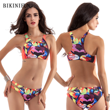 цена на New Sexy Tiger Print Bikini Women Swimsuit High Neck Bathing Suit S-XL Girl Backless Padded Swimwear Low Waist Micro Bikini Set
