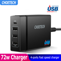 CHOETECH 72W 4 Port USB Type C Desktop Charger Station with Power Delivery For iPhone X 8 Plus MacBook Pro Mobile Phone Charger