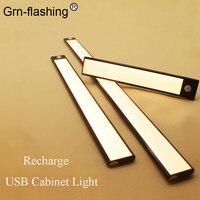 1 2 uds LED Ultra-delgada de Bajo del armario del Gabinete de luz LED de recarga USB 3 modos de Sensor de movimiento de las lámparas para el armario de cocina