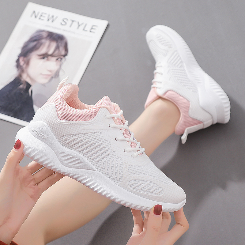 Women Sneakers White Spring New Women Vulcanized Shoes Breathable Mesh Lady Platform Shoes Lace-up Pink Sneakers Female