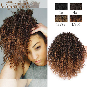 Vigorous Afro Kinky Curly Ponytail African American Short Wrap Synthetic Drawstring Puff Pony Tail Clip in Hair Extensions(China)