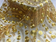 African Lace fabric high-grade gold thread sequins bead mesh yarn / lace embroidery wedding clothing circle wave