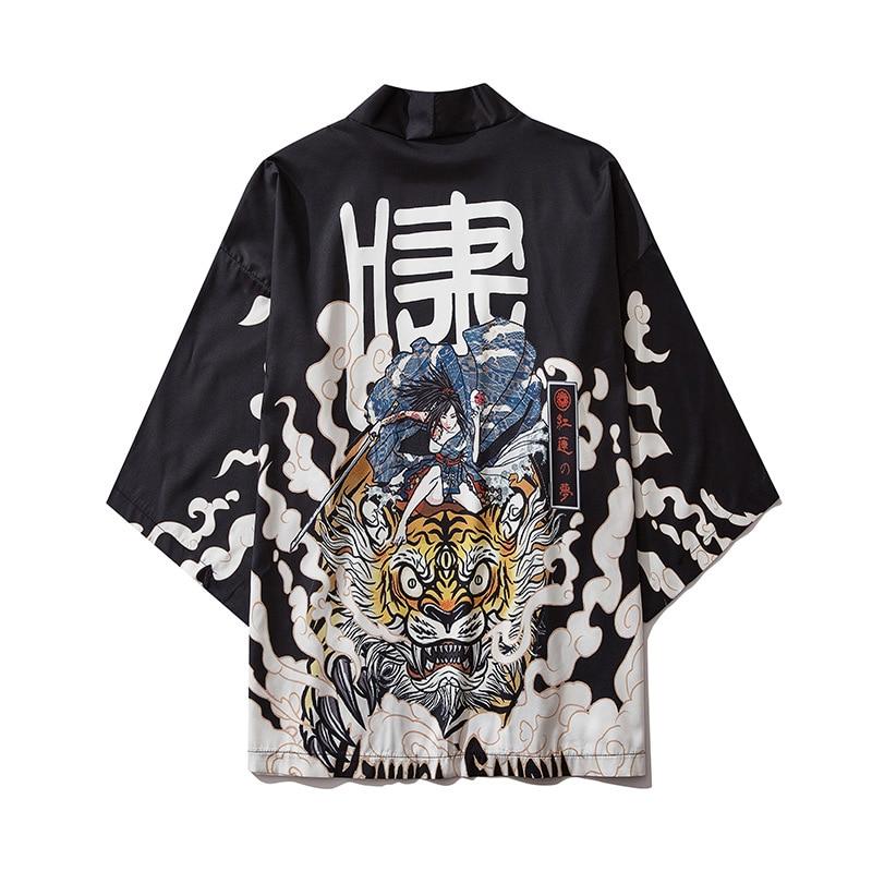 Japanese Style Tiger Kimono Tokyo Streetwear Haori Men Women Cardigan Japan Girl Robe Chinese Dragon Anime Clothes