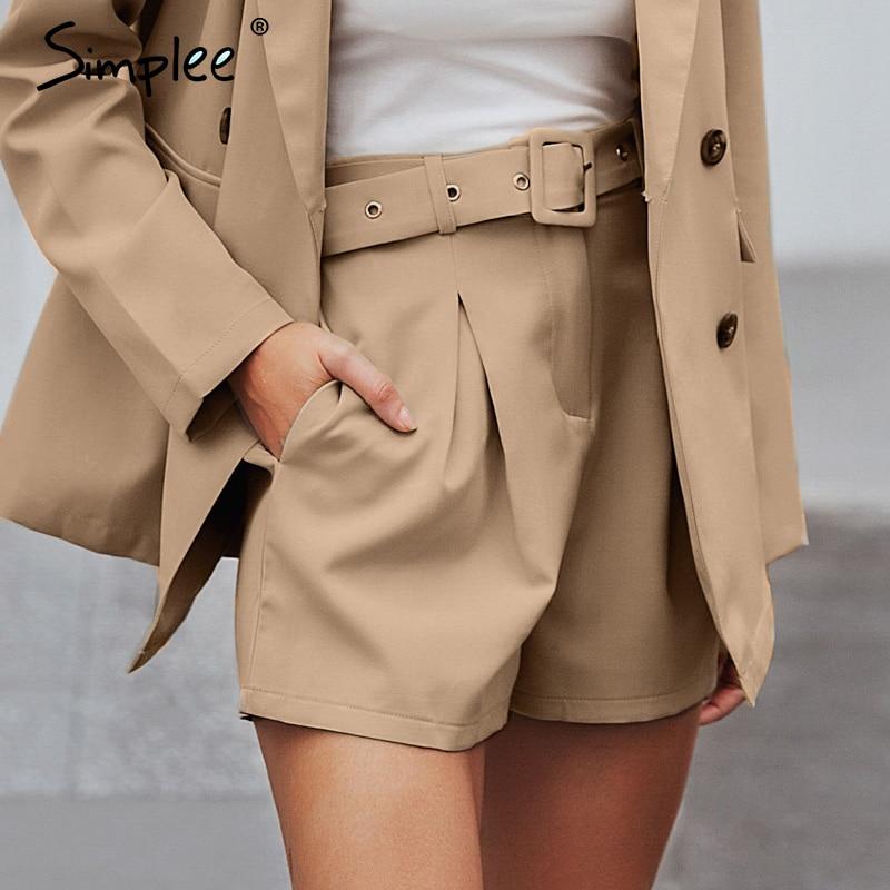 Simplee Casual Sash Belt Women Shorts Elastic Waist Blazer Short Pants Streetwear Solid Soft Office Ladies Bottom Shorts 2019