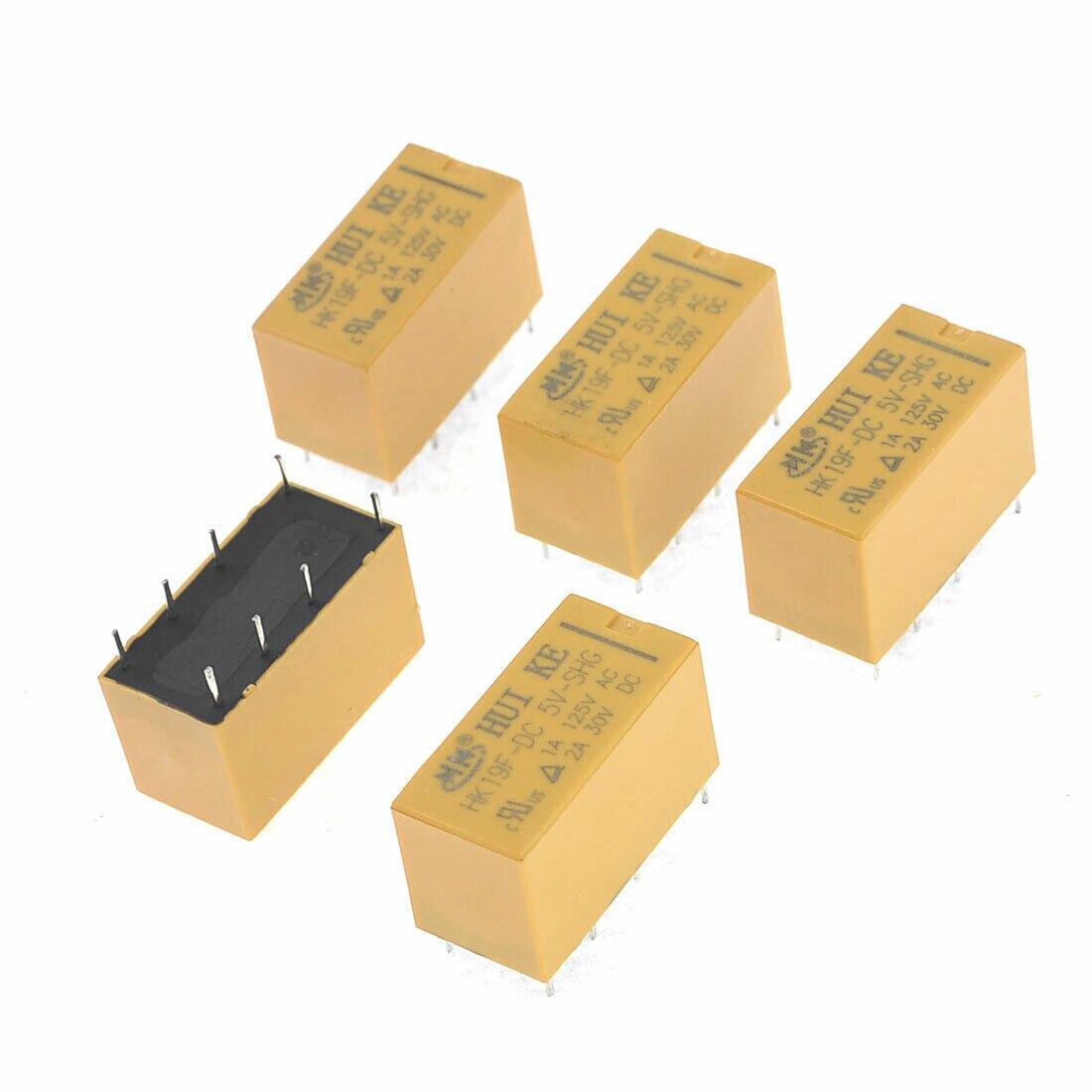 2Pcs HK19F-DC5V-SHG 1A 125V AC//2A 30V DC Mini 8Pin Power Relay