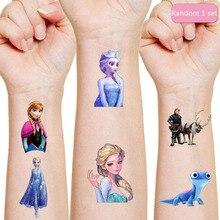 Adesivo de tatuagem frozen, decoração para aniversário das crianças, adesivo de personagens de ação da disney