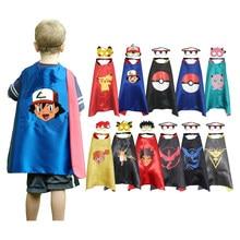 Dia das bruxas criança pokemon cosplay meninos meninas picochu capa com máscara crianças festa de aniversário presente favor