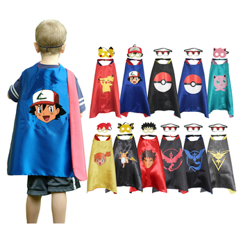 Halloween Child Pokemon Cosplay Boys Girls Picochu Cape with Mask Kids Birthday Party Favor Gift - sale item Costumes & Accessories