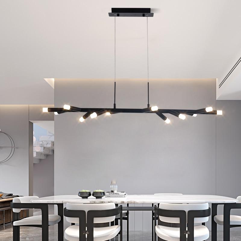 Brown/Black Modern led chandelier Kitchen Island Dining Room Shop Bar Decoration Cylinder Pipe pendant chandelier 800-1000mm
