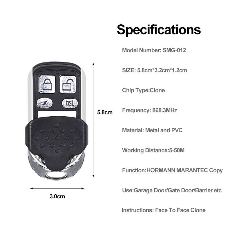 Gate Control Hormann Marantec 868 Remote Control Pintu Garasi Kunci Duplikator Kloning HSM2 HSM4 868 Marantec Digital D302 382