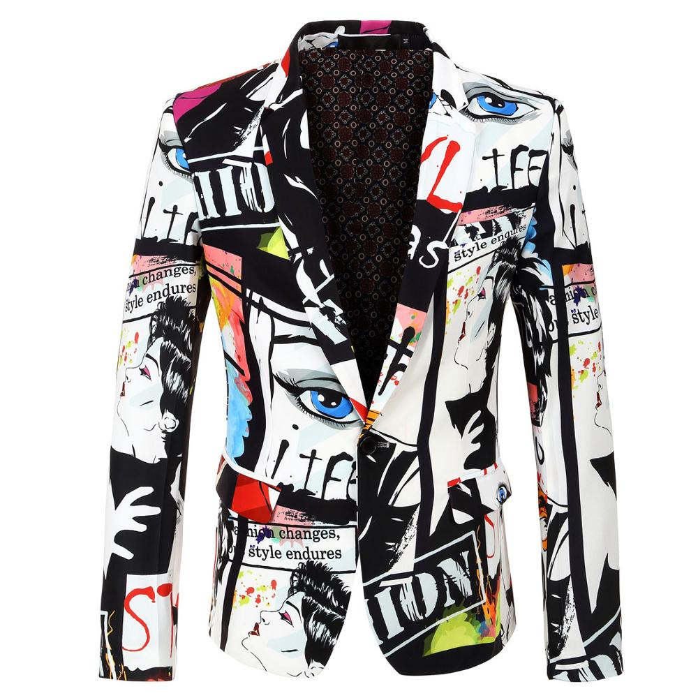 YUSHU Brand Mens Fashion Print Design Blazer Clothing Jacket Male Hip Hot Slim Fit Suit Jacket Singer DJ Costume Homme