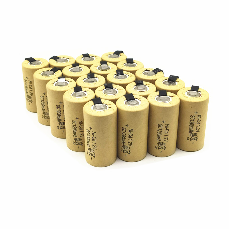 20PCS/lot High quality battery rechargeable battery sub battery SC <font><b>Ni</b></font>-<font><b>Cd</b></font> battery <font><b>1.2</b></font> <font><b>v</b></font> with tab 1200 mAh for Electric tool image