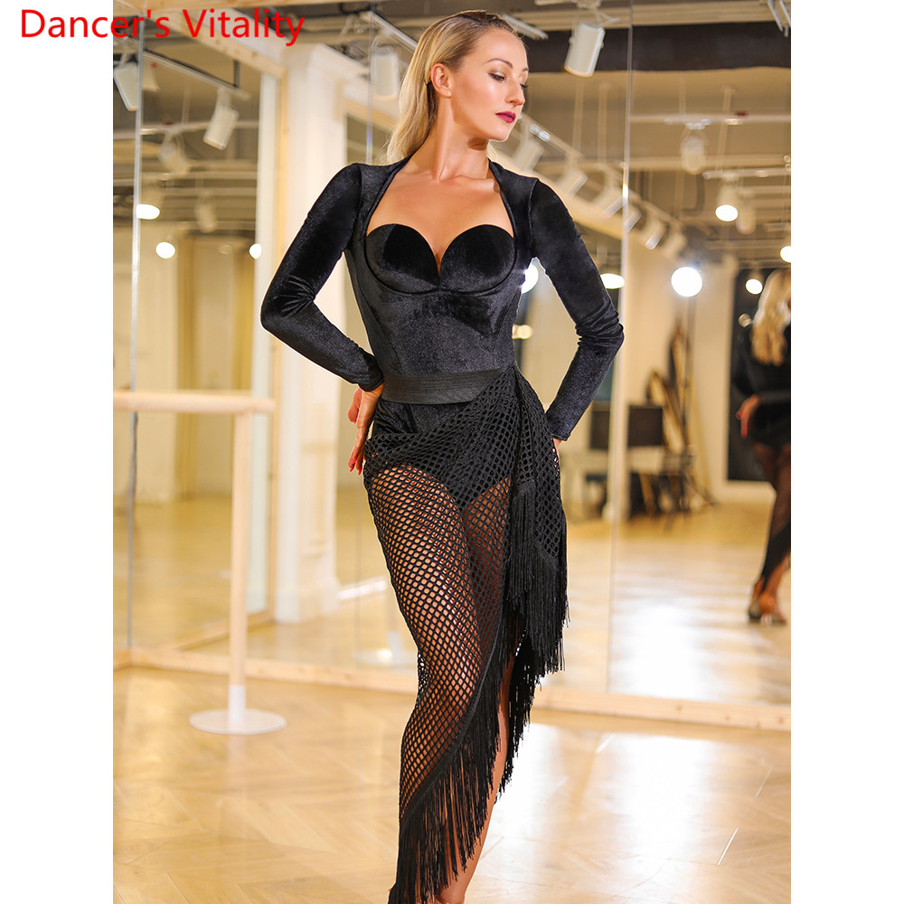 Women Latin Dance Practice Training Clothes Cut Out Tassel Hip Scarf Skirt Rumba Samba Tango Dancing Casual Performance Costume