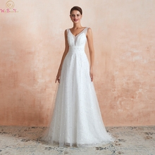 Boho Wedding Dresses Beach A Line Pearl 2019 Lace V Neck Simple Bride Gown Sleeveless Walk Beside You abiti sposa