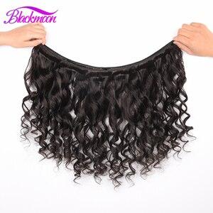 Image 5 - Extensiones de cabello humano mechones de ondas sueltas, 1/3/4 mechones, Color negro Natural, Remy, trama Doble