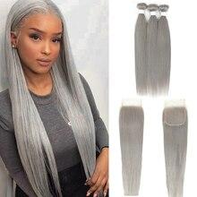 Bundle Grey Silver Closure-4x4 100%Human-Hair-Bundles KEMY Gray Color Straight Brazilian