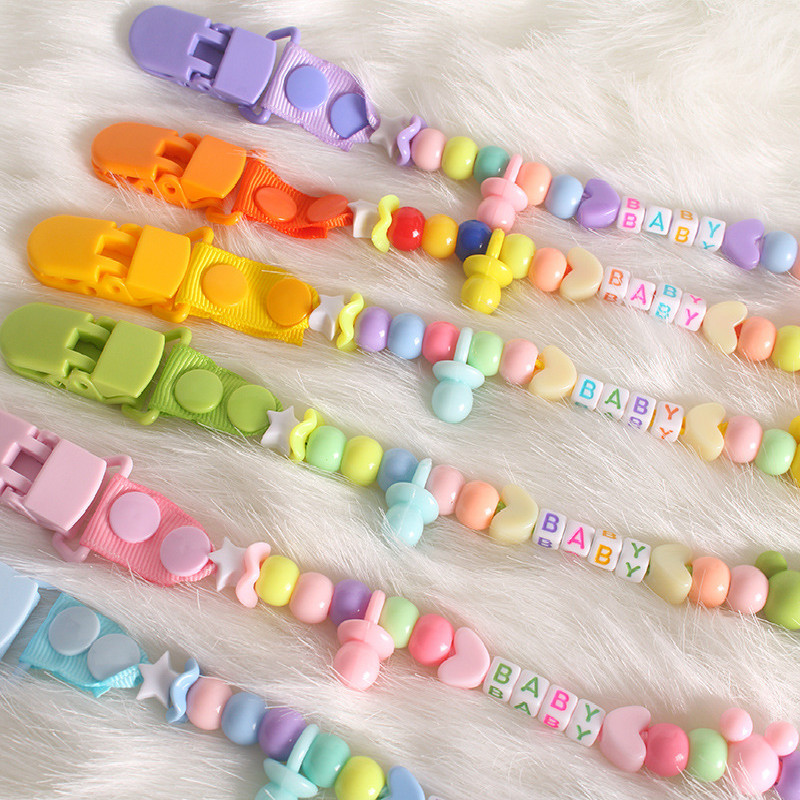 Baby Pacifier Clips Newborns Beads Anti-lost Chain Toys Newborn Baby Dummy Pacifiers Clips For Teether Nipples Dental Care