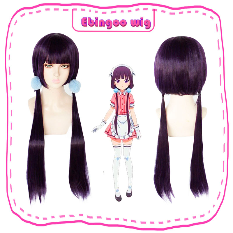 Ebingoo Blend S Sakuranomiya Maika Wigs Long Straight Purple Heat Resistant Synthetic Halloween Cosplay Costume Wig+Blue Hairban