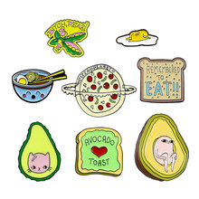 Leuke Kat Fruit Pizza Bean Beer Toast Brood Broche Avocado Ei Uitdrukking Leven Pin Shirt Denim Emaille Badge Kind en familie Gift(China)