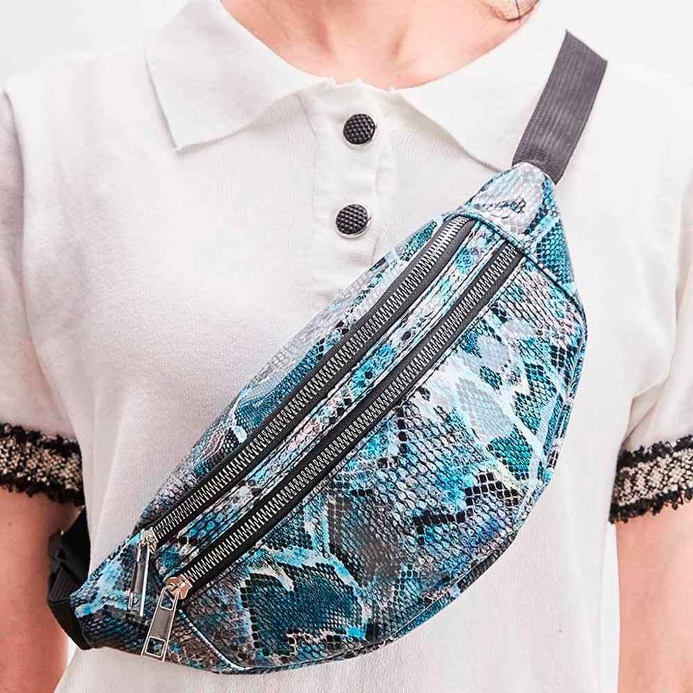 แฟชั่นผู้หญิง Fanny Pack SNAKE เอวส่วนบุคคล ROCK และ Roll สีแฟชั่น PU หนังกระพริบเข็มขัดกระเป๋า Messenger กระเป๋า