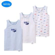 Iairay 3 قطعة/المجموعة الصيف القطن تانك الأعلى للبنين الأبيض القميص فتى النوم قميص بلا أكمام قميص سترة ملابس داخلية لأطفال