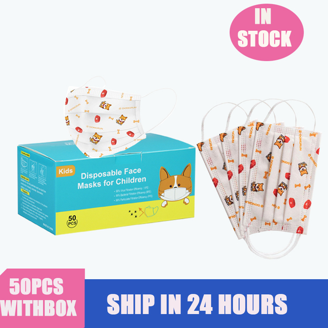3-13 years old Disposable Elastic Mouth Soft Breathable Cartoon dog printing Hygiene Child Kids Face Mask Kawaii Dropshipping 3