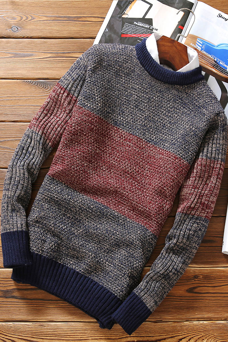 Fashion Autumn Winter Slim Fit Mens Sweaters For 2019 O-neck Casual Pullover Men Sweater Patchwork Knitted Sweaters Men