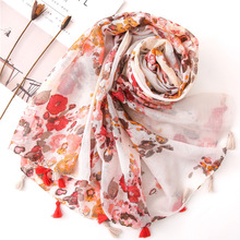 2019 Summer Balinsha Floral Head Scarf for Women Bufanda Mujer Autumn Ladies Shawls Ponchos and Capes Voile Beach Scarves Long chic rose floral pattern voile scarf for women