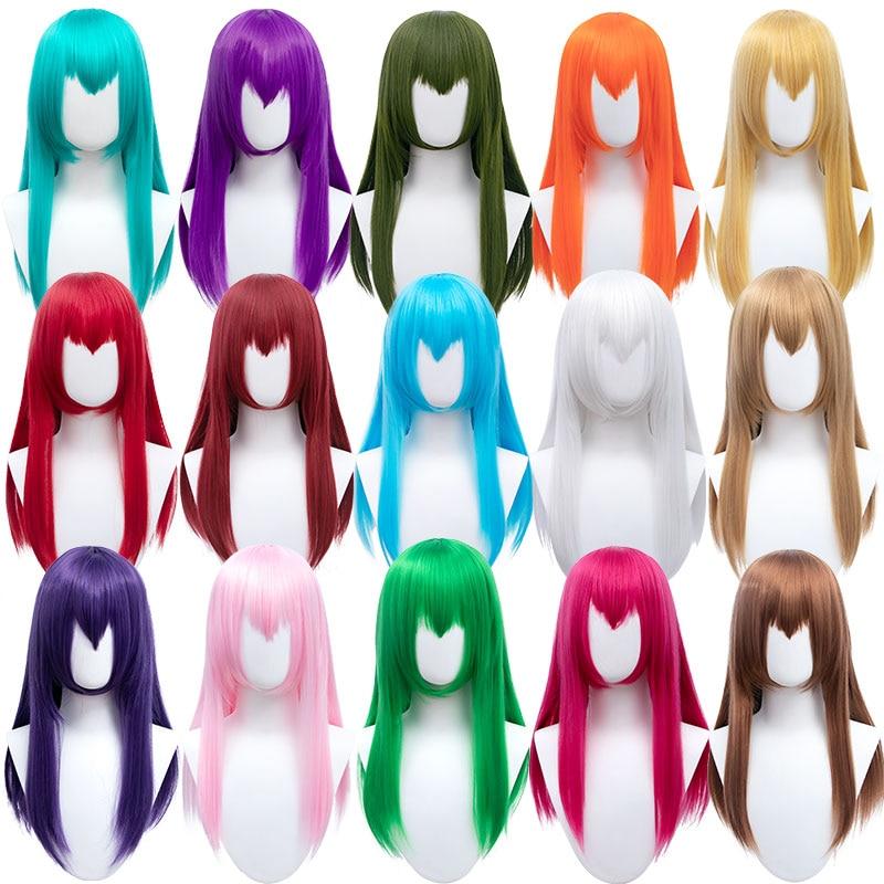 Парик DIANQI для косплея, Синтетические длинные прямые искусственные волосы с челкой, черные, синие, розовые, В Стиле Лолита, подходит для вечеринки аниме|Синтетические парики для косплея| | АлиЭкспресс