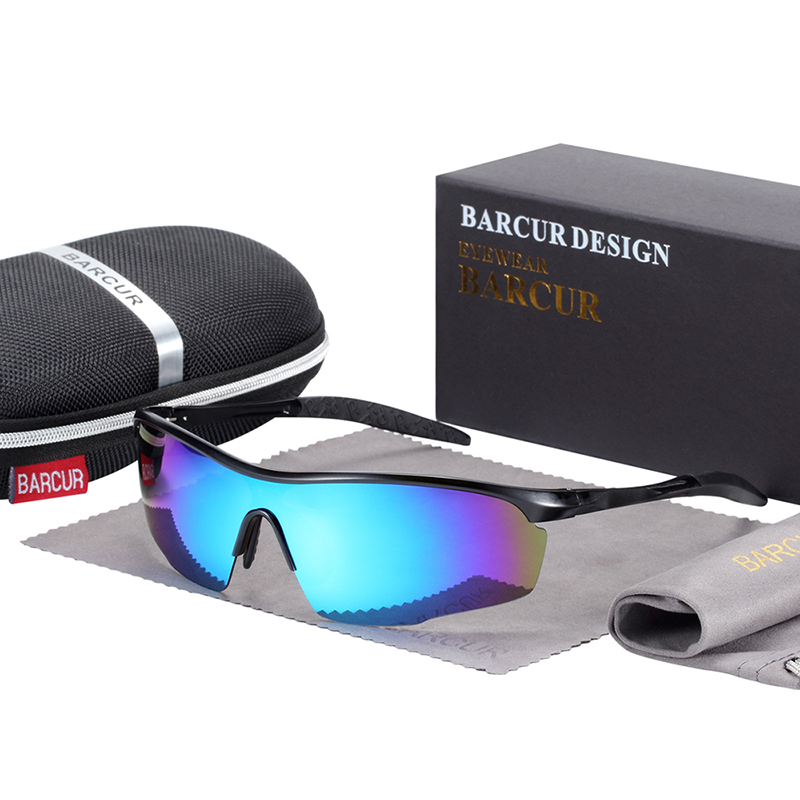 BARCUR Sports Aluminum Magnesium Men Sunglasses Women Polarized Anti-Reflective BC8583