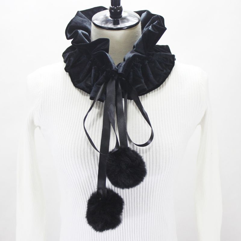Womens Victorian Ruffled Fake Collar Pleated Velvet Neck Ruff With Pompom Ties AXYD