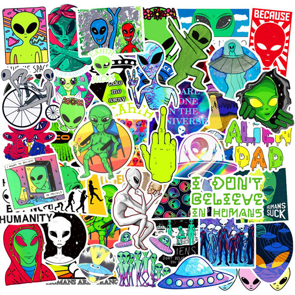 50PCS Aliens UFO Cartoon Stickers  Skateboard Fridge Phone Guitar Laptop Motorcycle Travel Luggage Classic Toy Decal Stickers