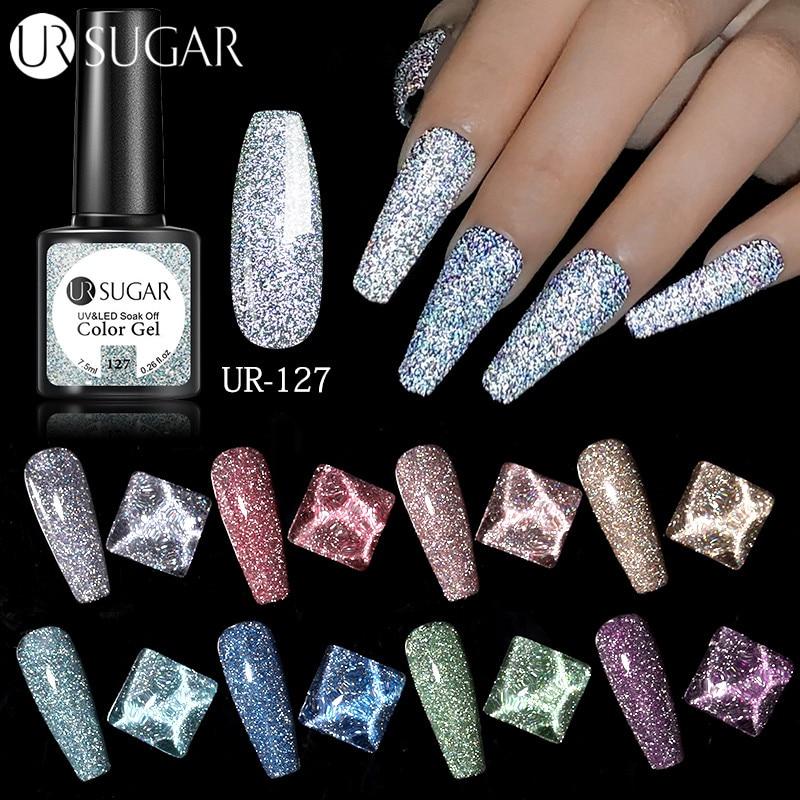 UR SUGAR светоотражающий Блестящий Гель лак для ногтей 7,5 мл сверкающий Auroras лазерный гель для ногтей для дизайна ногтей Полупостоянный верхний базовый слой|Гель для ногтей|   | АлиЭкспресс