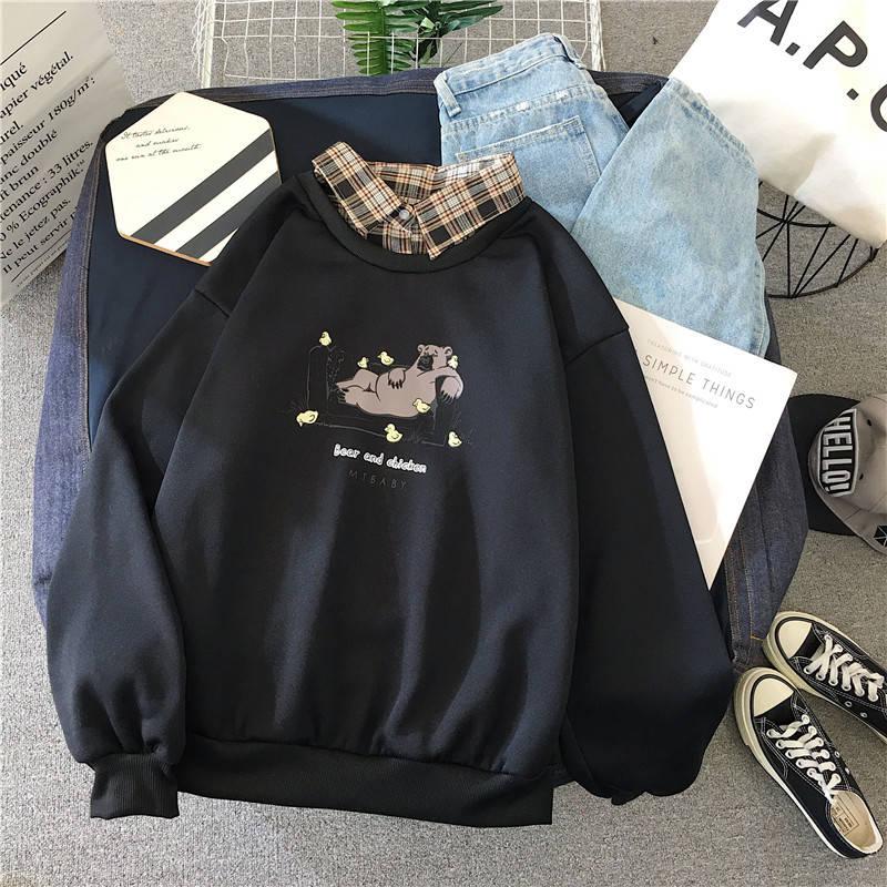 Cute Bear oversized Kawaii women sweatshirt fashion pullovers ladies plus size tops hoodie casual ladies korean style streetwear 4