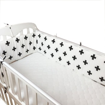 Baby Crib Bumper Flat Sheet Newborn Head Protector Toddler Bed Bumper Cot Bed Rail Infant Baby Bedding Set 200*30cm image