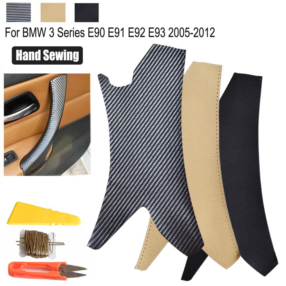 Leather Hand Sewing Leather Pull Trim Interior Door Handle Cover Carbon Texture/Black For BMW 3 Series E90 E91 E92 E93 2005-2012 image