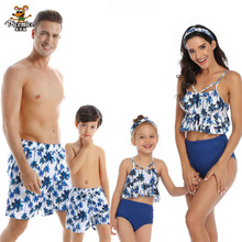 2020 New Family Look Mother Daughter Beach Bikini Swimsuits Mommy Dad And Me Matching Clothes Father Son Swimwear Shorts leopard swimsuits family matching swimwear mother daughter bikini dad son swim trunks mommy and me family outfits look e0200