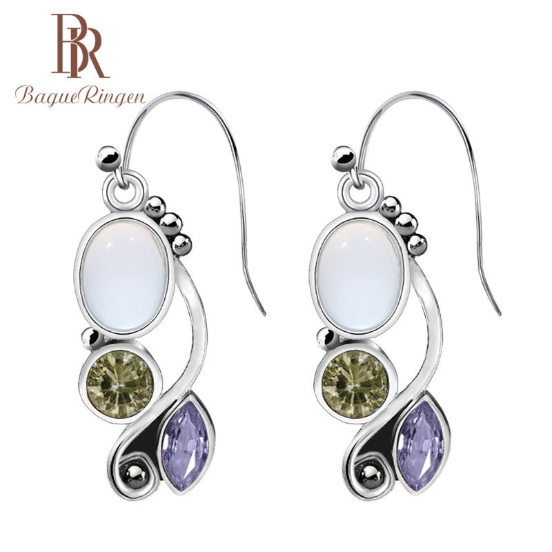 Bague Ringen Vintage Silver Earrings With Amethysty Gemstones  For Charm Lady 925 Sterling Silver Jewelry Gifts  Wholesale