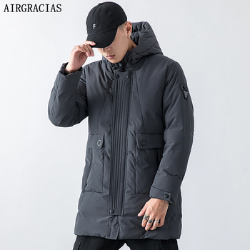 AIRGRACIAS 2019 New Winter Jacket Men Thickening Casual Cotton Jackets Winter Mid-Long Parka Men Brand Clothing Size M-4XL