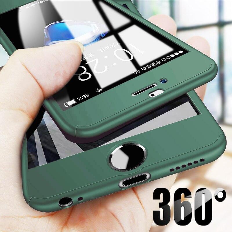 Funda completa de lujo para iPhone 11 Pro Max XR XS X, protector de vidrio templado para iPhone SE 360 8 7 6 6S Plus 5 5S SE, 2020
