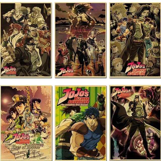 classic Anime JoJo's Bizarre Adventure JOJO Poster Action Anime retro Poster Painting Wall Art for Living Room /Bar Decor