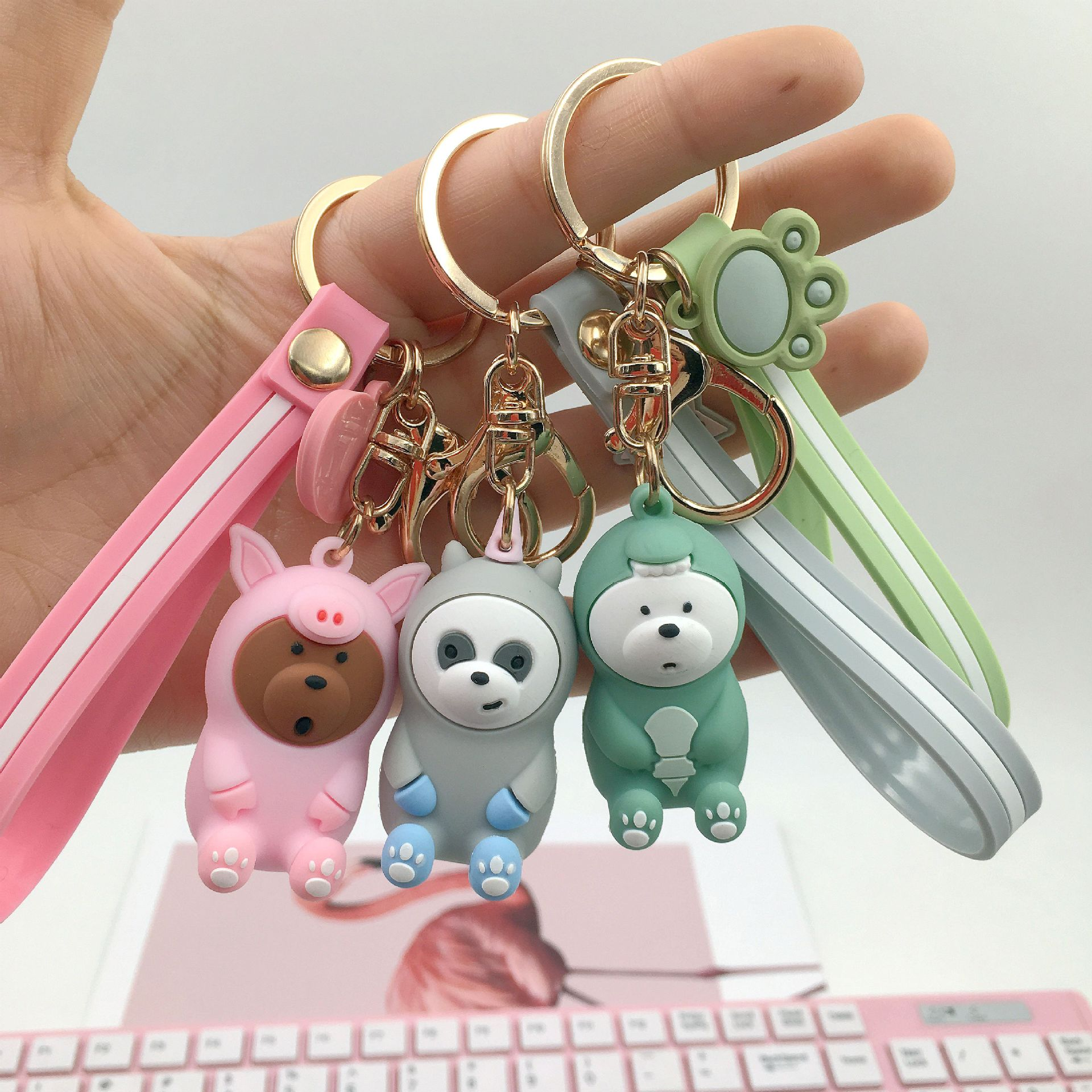 Our Naked Bear Cute Doll Keychain Three Cute Bear Keychain Keyring Car Women's Bag Pendant Jewelry Children's Gift